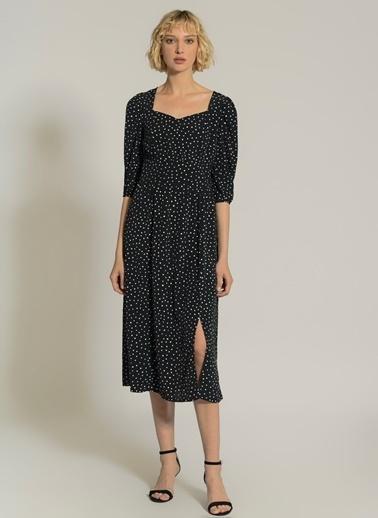 NGSTYLE Puantiye Desenli  Elbise Siyah